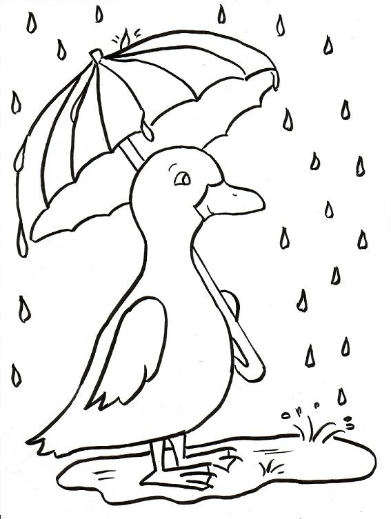 Rainy Day Duckling Coloring Page