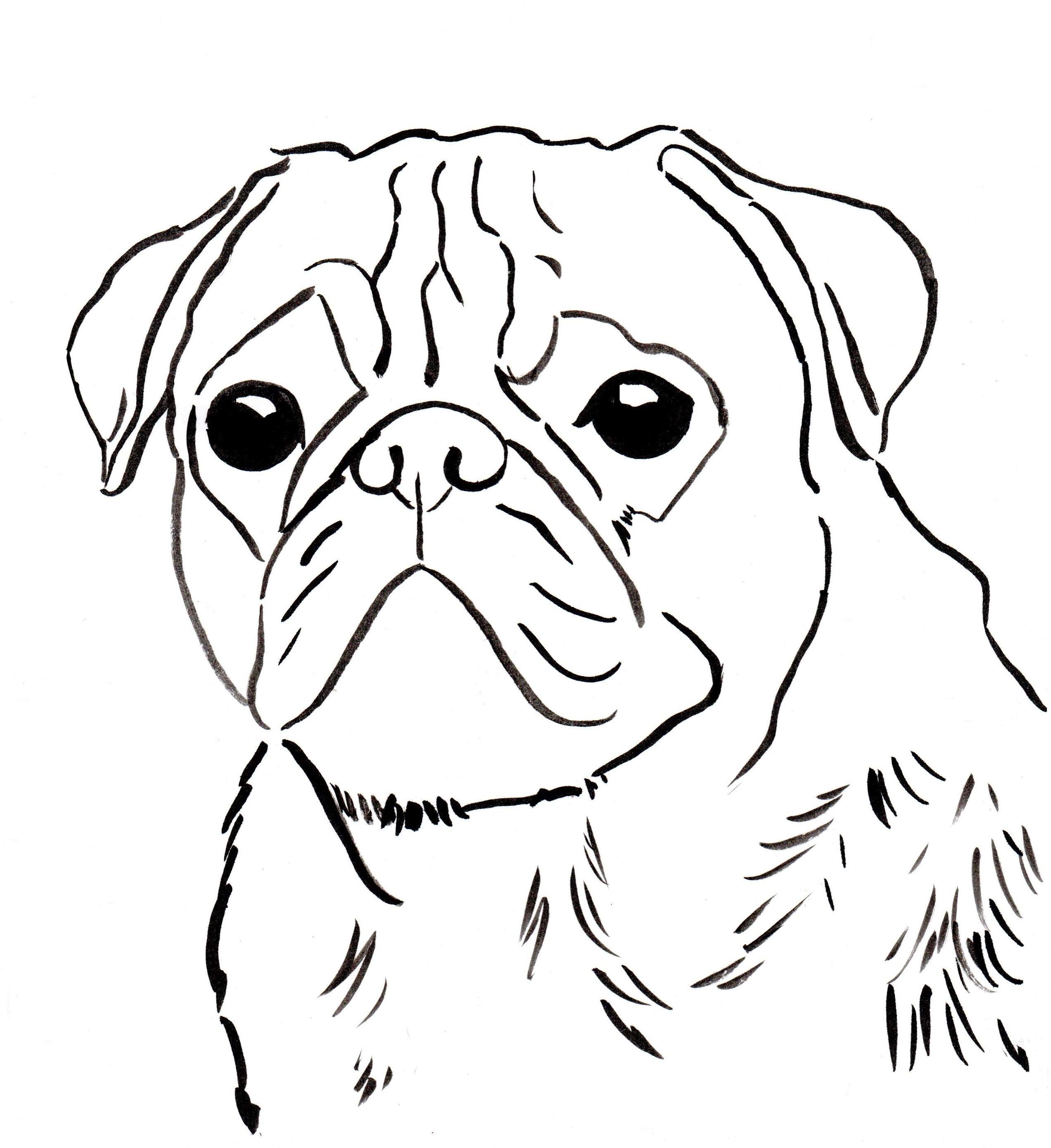 pugs coloring pages to print - photo#1
