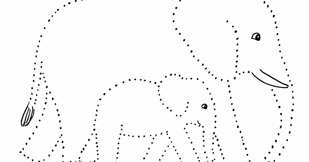 Elephant And Baby Dot Drawing
