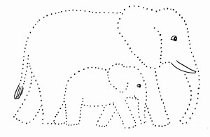 elephant dot drawing