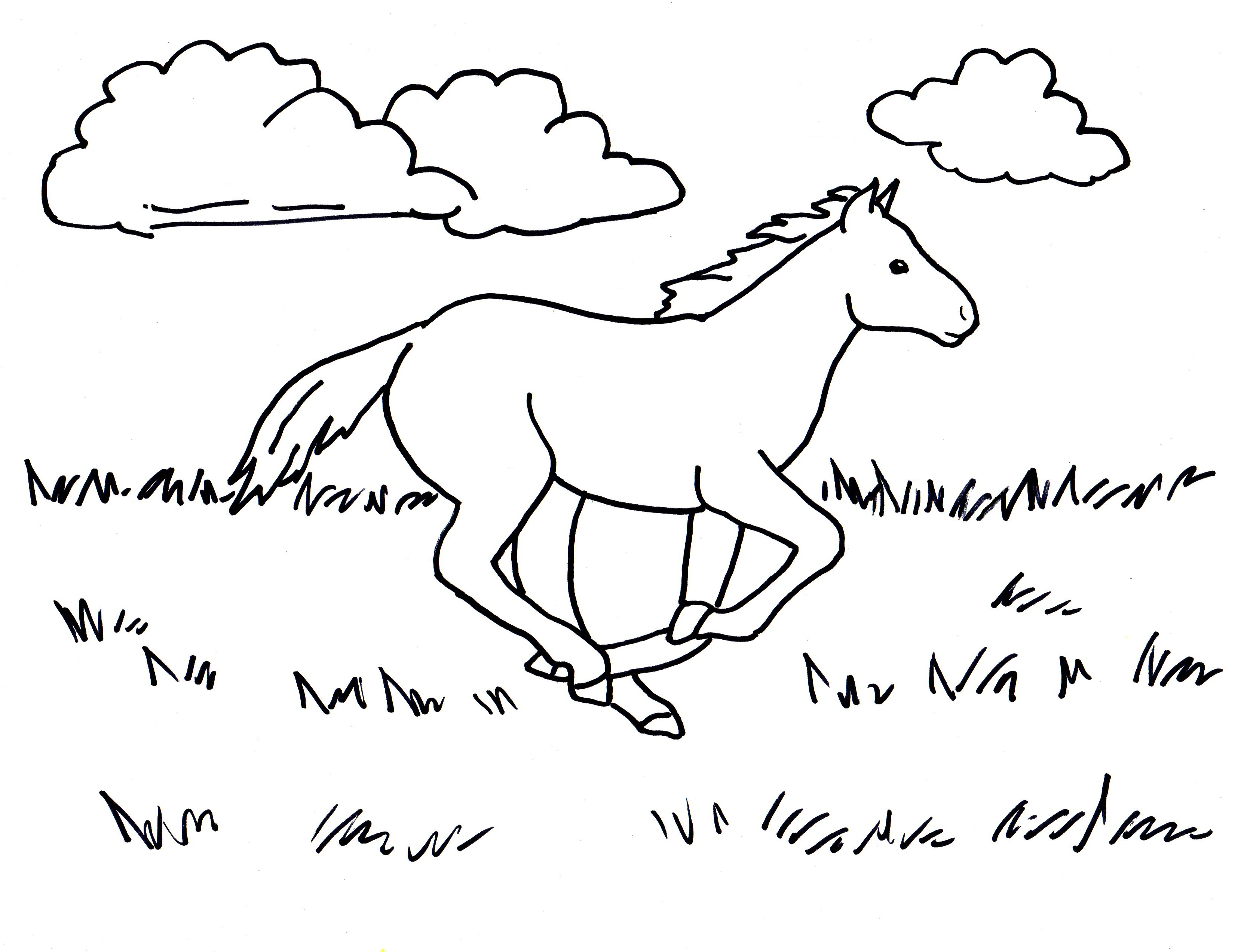 Coloring Pictures Of Horses Running  Coloring Pages For Kids and