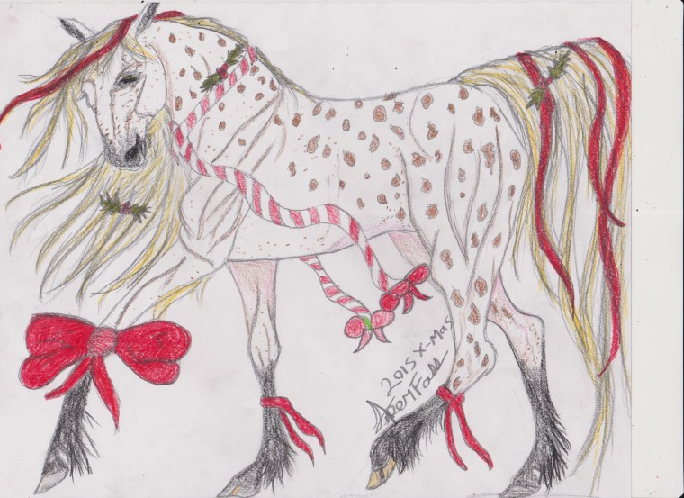Christmas Horse Drawing.Contest Entry Christmas Gift Art Starts For Kids