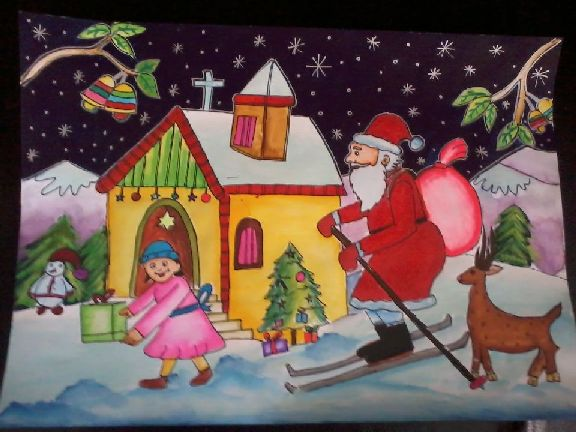 Christmas Scene Drawing For Kids.Contest Entry Merry Christmas Art Starts For Kids