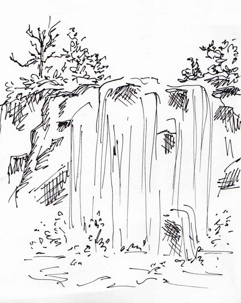 Line Drawing Waterfall : Drawing prompt for  samantha bell