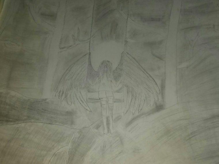 Sad Angel On A Swing Art Starts For Kids
