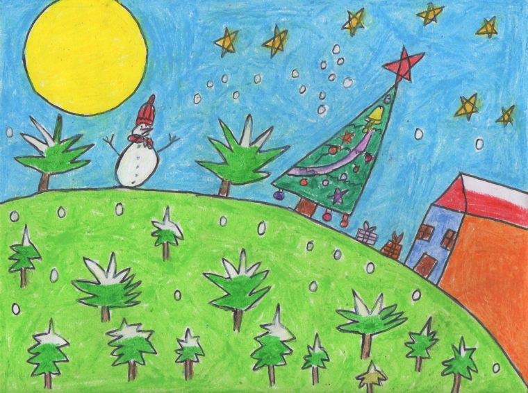 Blue- Night at the winter season - Art Starts for Kids