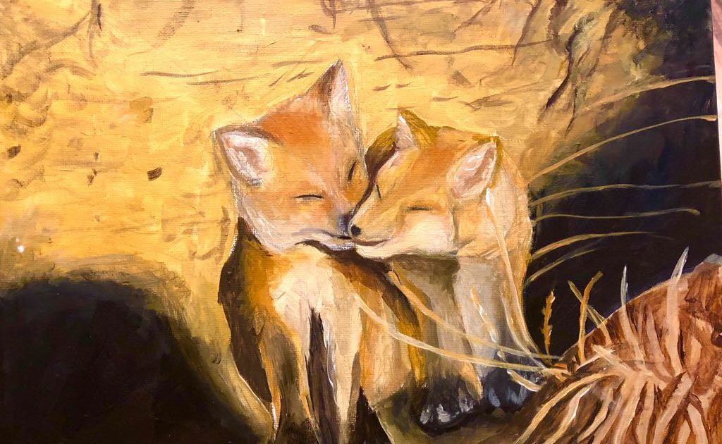 Acrylic painting of foxes Art