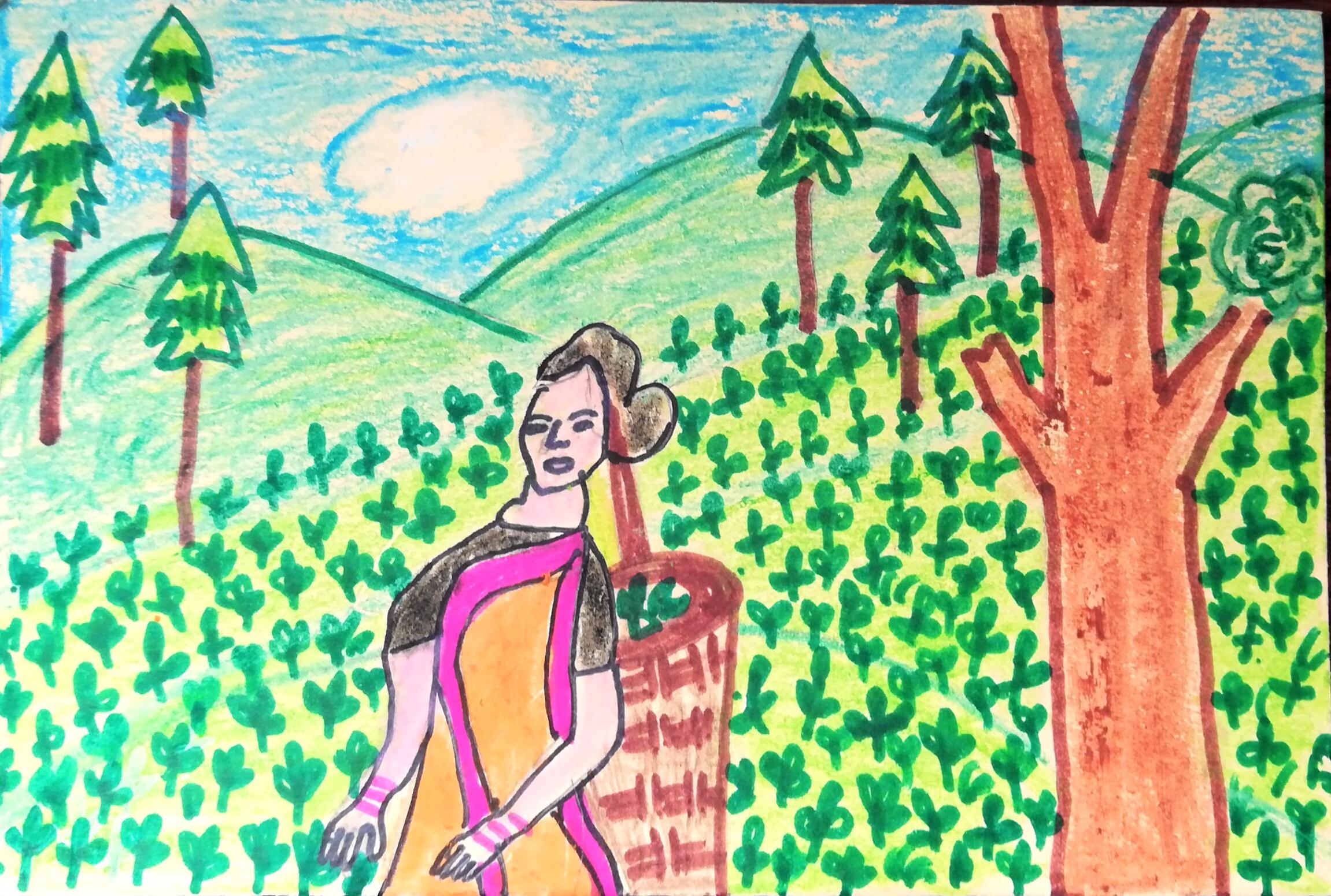Tea plantation - Art Starts for Kids