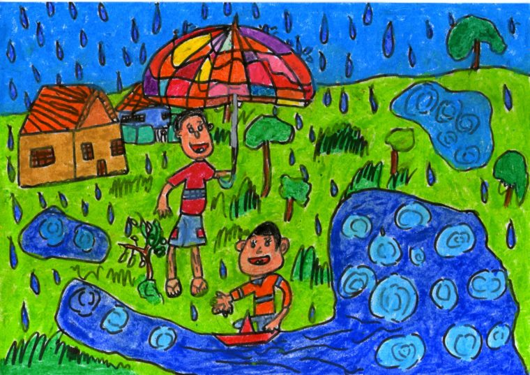 Friends Playing Paper Boats In Rain Art Starts For Kids